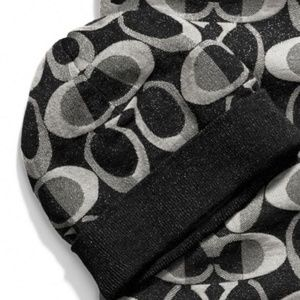 COACH Black C's Wool Blend Close Knit HAT Cap